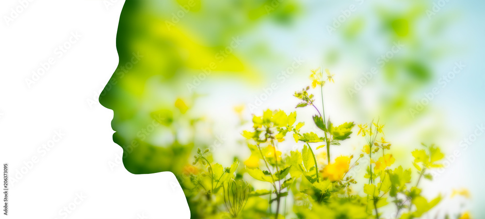 Fototapety, obrazy: beauty, nature and ecology concept - portrait of woman profile with yellow spring flowers with double exposure effect
