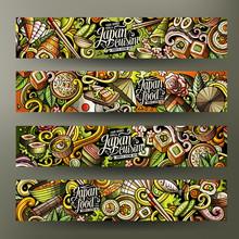 Cartoon Doodles Japanese Food Banners