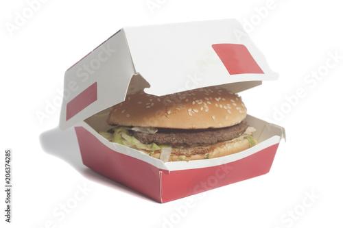 Delicious big hamburger in cardboard box
