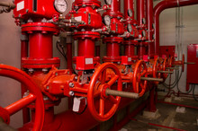 Red Generator Pump For Water Sprinkler Piping And Fire Alarm Control System