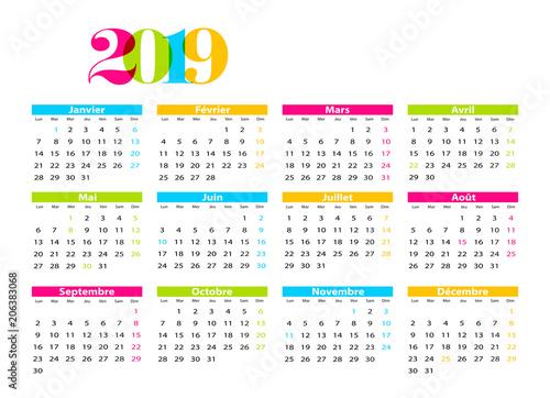 Achat Calendrier 2019.Calendrier 2019 Francais Avec Jours Feries Acheter Ce
