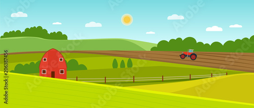 Summer landscape with farmhouse and tractor on the field. Vector flat style illustration