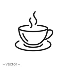 Coffee Cup Icon Vector, Line S...