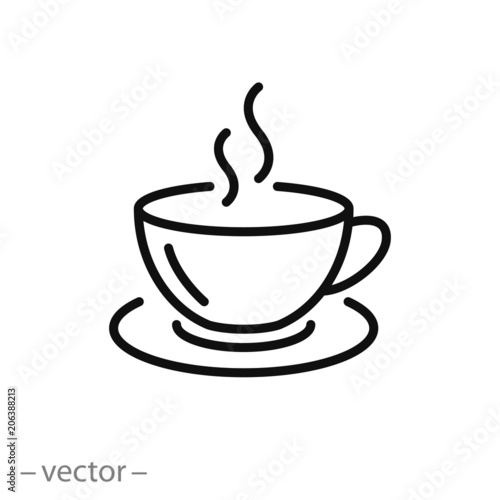 Obraz coffee cup icon vector, line sign - fototapety do salonu