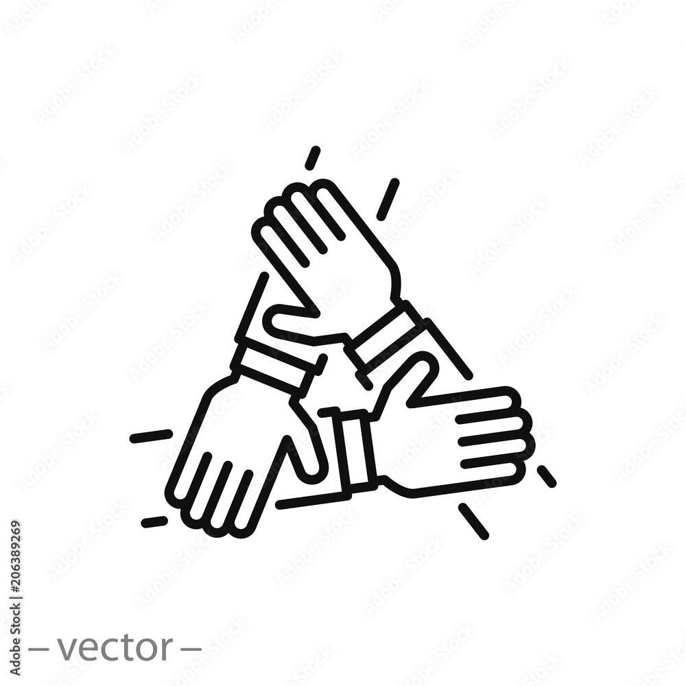 Fototapeta three hands support each other, concept of teamwork, icon vector