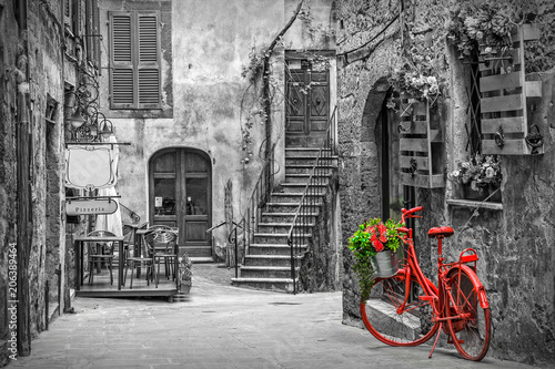 Fototapeta Beautiful alley in Tuscany, Old town, Italy obraz