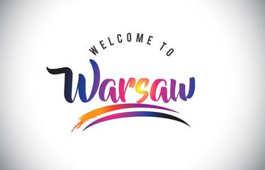 Fototapeta Miasta Warsaw Welcome To Message in Purple Vibrant Modern Colors.