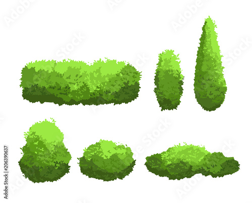 Vector illustration set of garden green bushes and decorative trees different shapes Canvas Print