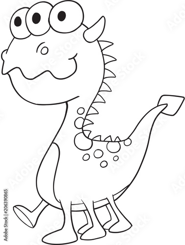 Poster Cartoon draw Cute Monster Vector Illustration Art