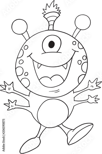 Tuinposter Cartoon draw Cute Monster Vector Illustration Art