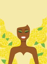 Young Girl Over Lemon Background