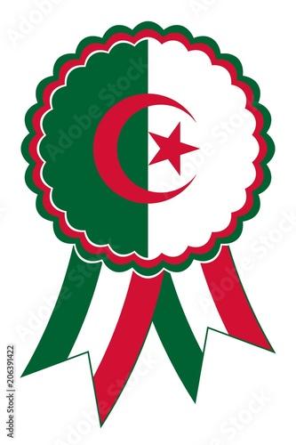 Vászonkép Algerien Emblem vektor in den originalen Nationalfarben rot, grün und weis