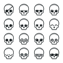 Set Of Skull Heads Cartoon