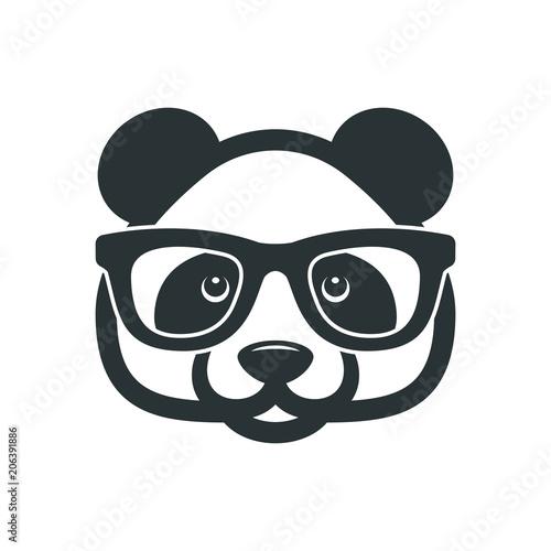 Panda with glasses Wallpaper Mural