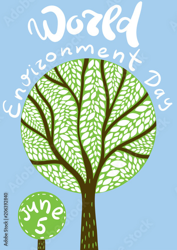 World Environment Day Poster Tree Illustration With Leaves World