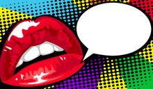 Women's Red Lips Comics. Vecto...