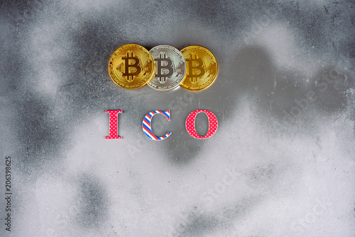 Modern Silver Foil Mystic Background With A Bitcoins And Ico Letters In The Center Is Gold Coins Of E Currency Symbol New Technologies