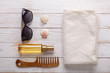 Sea accessories on wooden background