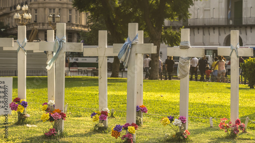 Papiers peints Buenos Aires White crosses, protests of missing people in the May Square in Buenos Aires