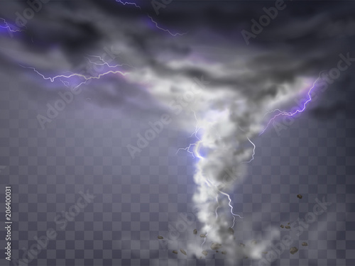 Obraz Vector realistic tornado with lightnings, destructive hurricane isolated on transparent background. Wind cyclone, twisted vortex with flashes of light and flying stones, dangerous natural disaster - fototapety do salonu