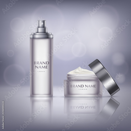 Vector Cosmetic Promotion Banner Glass Jar With Open Lid Full Of Moisturizing Cream For Hand Or