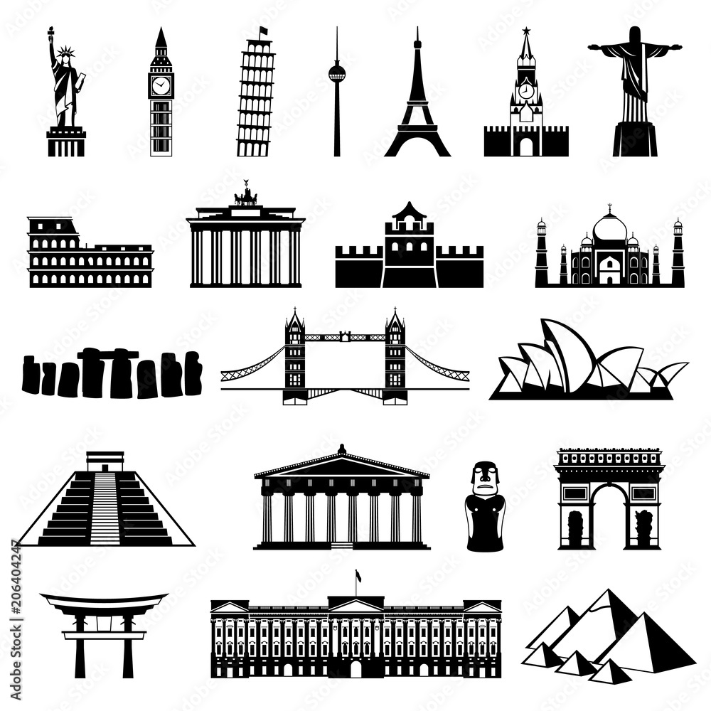 Fototapety, obrazy: Countries of the world silhouette. Architecture, monument or landmark icon.