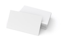 3d Blank White Business Cards On White Background