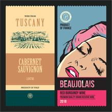 Wine Labels. Drawing Vineyard....