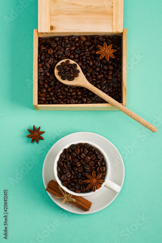 Fotografie, Tablou  Wooden box and spoon with coffee seeds сup of coffee