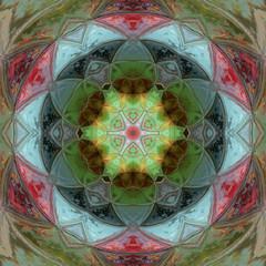 Fototapeta Orientalny Abstract colorful triangle mandala design
