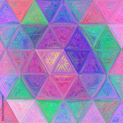 Fotografía  triangle continuous background, illustration in crayon effect, tender pale multi