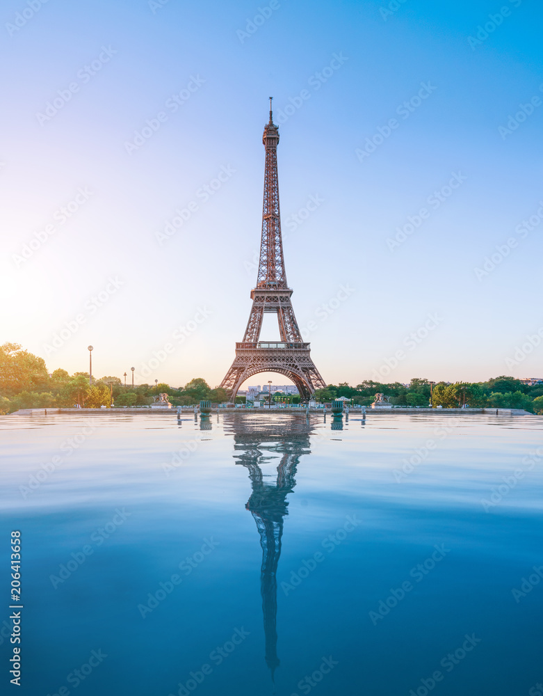 The eiffel tower in Paris at sunrise morning