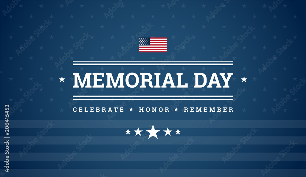 Fototapety, obrazy: Memorial Day dark blue background with text - Celebrate, Honor, Remember, USA flag