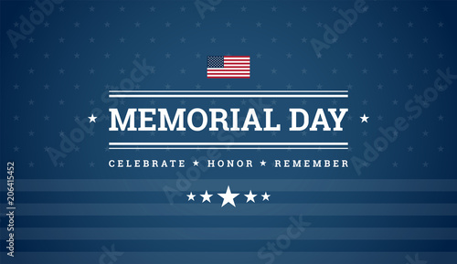Cuadros en Lienzo Memorial Day dark blue background with text - Celebrate, Honor, Remember, USA fl