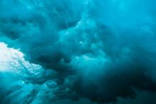 Breaking Wave Underwater. Blue...