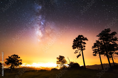 Staande foto Zwart The starry sky, the milky way. Photo of long exposure. Night landscape.