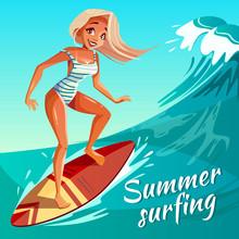 Summer Surfing Vector Illustra...