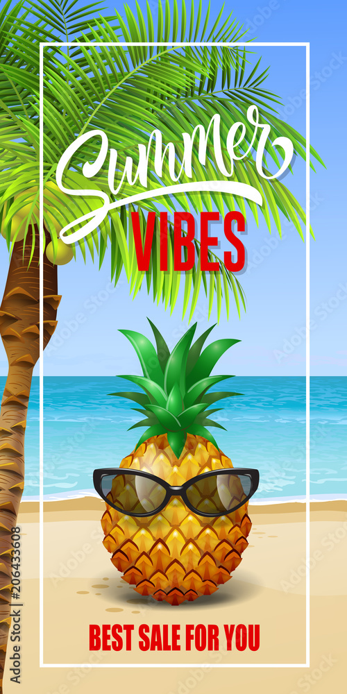 b3cca196bbad Photo & Art Print Summer vibes lettering in frame with sea beach and pineapple  in sunglasses | EuroPosters