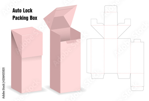 package box die cut with 3d mock up with auto lock Fototapete