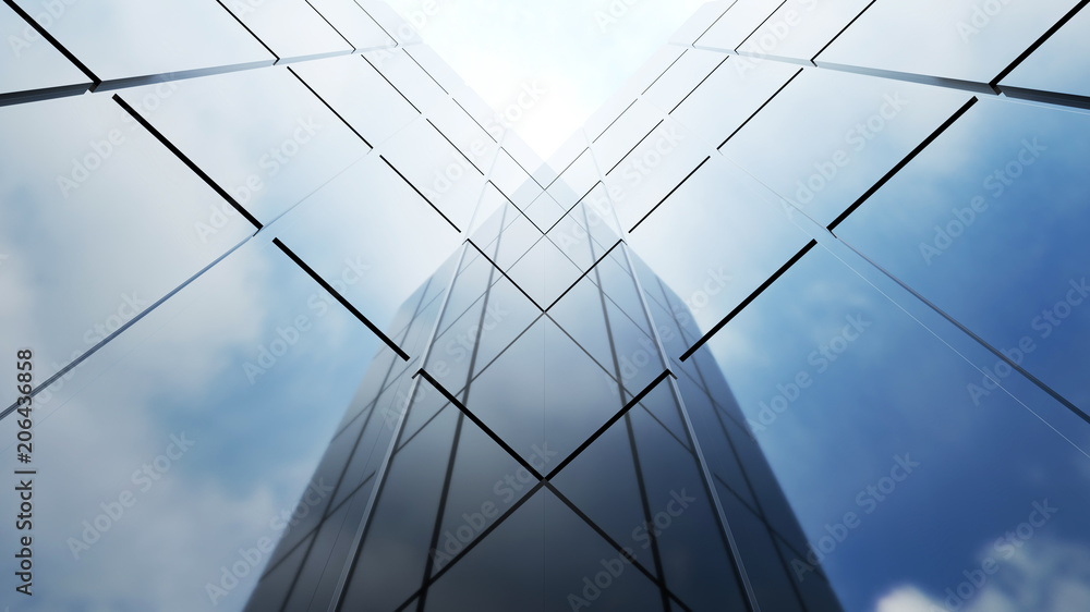 Fototapety, obrazy: Low angle view of generic modern office skyscrapers ,high rise buildings with abstract geometry glass facades on a bright sunny day . Concepts of finances and economics background. 3d rendering .