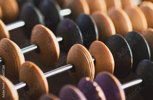 Close-up macro photo of vintage abacus for calculation