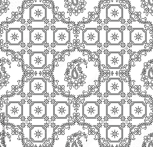 Seamless Traditional Indian Black And White Paisley Wallpaper