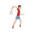 Young man playing tennis or badminton, active healthy lifestyle concept cartoon vector Illustration on a white background