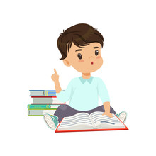 Cute Smart Little Boy Character Sitting On The Floor And Reading A Book Vector Illustration On A White Background