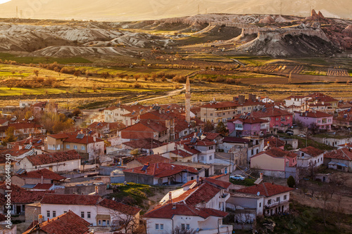 Photo View on turkish village in the evening