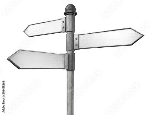 Fotografie, Obraz 3D illustration of crossroads signpost indicating travel or indecision