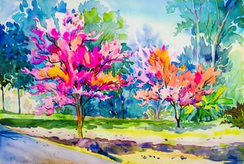 Fototapeta Łąka Abstract painting watercolor original of Wild Himalayan Cherry flower
