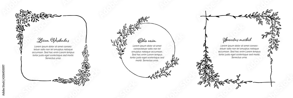 Fototapety, obrazy: Minimalist floral frames collection