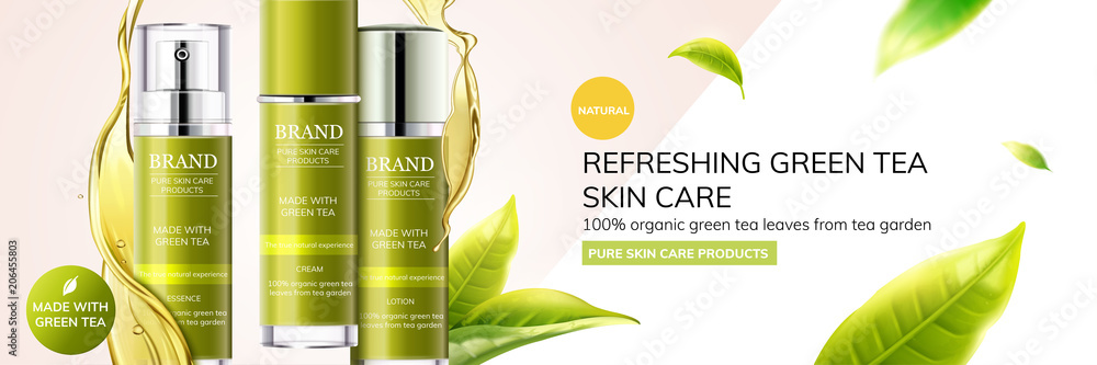 Fototapety, obrazy: Refreshing green tea skin care ads