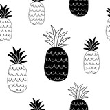 black and white abstract pineapples seamless pattern - 206456057